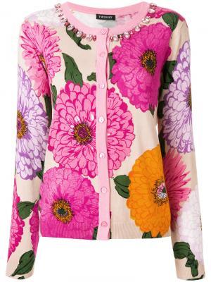 Кардиган с цветочным принтом и поделочными камнями Twin-Set. Цвет: розовый и фиолетовый