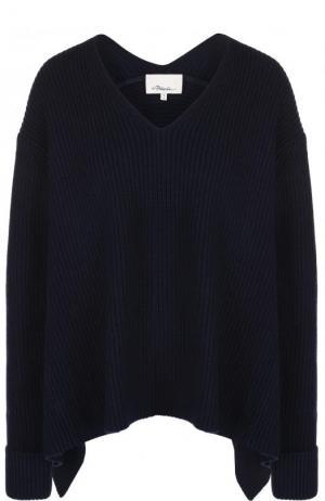 Шерстяной пуловер асимметричного кроя с V-образным вырезом 3.1 Phillip Lim. Цвет: темно-синий