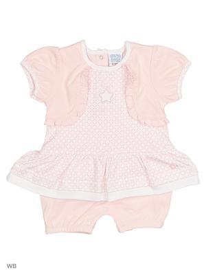Платье-боди Cutie Bear. Цвет: розовый, белый