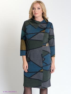 Платье Forus. Цвет: зеленый, коричневый, черный, синий