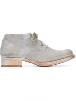 Сапоги на шнуровке с квадратным носком Cherevichkiotvichki. Цвет: серый