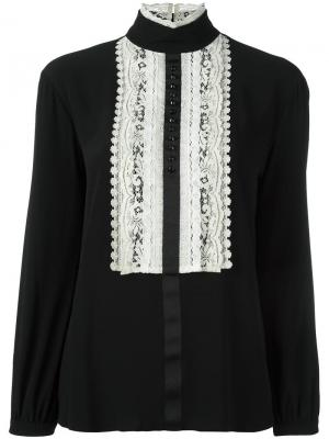 Блузка с кружевом 8pm. Цвет: чёрный