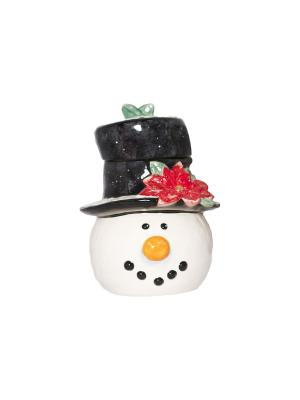 Банка для печенья в виде головы снеговика шляпе 28 см Снеговик Certified International. Цвет: бежевый