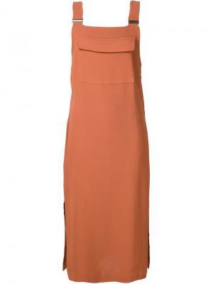 Платье с накладным карманом Nomia. Цвет: жёлтый и оранжевый