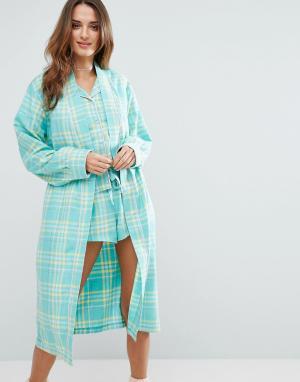 Chelsea Peers Тканый халат в клетку. Цвет: зеленый