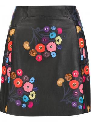Floral print mini skirt Tanya Taylor. Цвет: чёрный