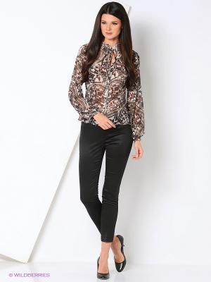 Блуза ADZHEDO. Цвет: коричневый, бежевый, бордовый