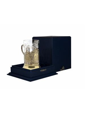 Набор для чая латунный с чернением Храм Христа Спасителя (подстаканник + стакан футляр) Кольчугинъ. Цвет: золотистый