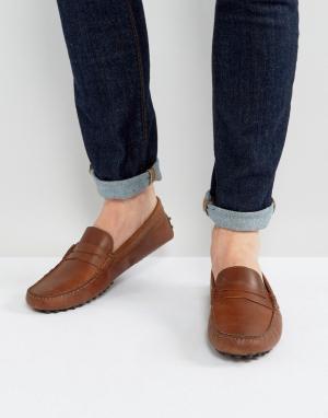 ASOS Коричневые кожаные мокасины. Цвет: коричневый