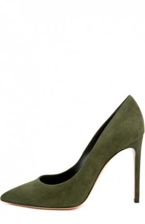 Замшевые туфли Perfect на шпильке Casadei. Цвет: зеленый