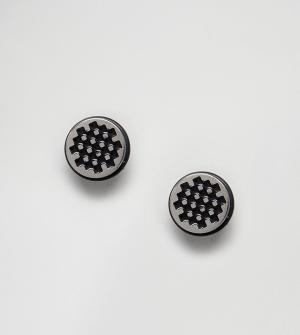 ASOS Набор сережек-плагов в виде шахматной доски. Цвет: черный