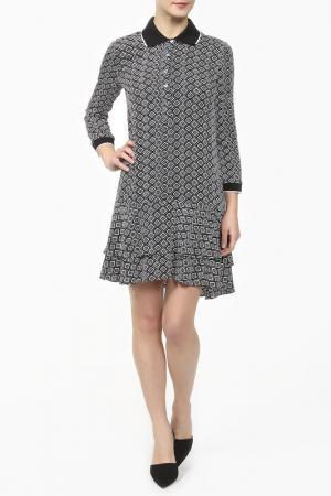 Платье-поло DIANE VON FURSTENBERG. Цвет: черно-белый