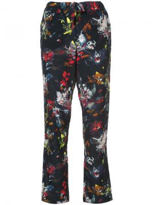Укороченные брюки с цветочным рисунком Tomas Maier. Цвет: синий