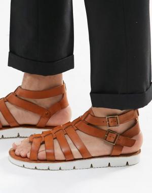Dune Кожаные сандалии. Цвет: рыжий
