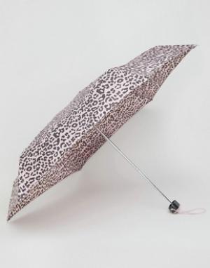 Totes Миниатюрный зонт с леопардовым принтом. Цвет: розовый