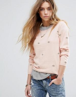 Maison Scotch Базовый джемпер с круглым вырезом и вышивкой. Цвет: розовый