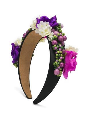 Ободок с пионами и жасминами Весенний прованс в богемном стиле Nothing but Love. Цвет: фиолетовый, салатовый, черный