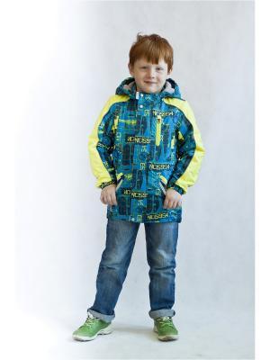Куртка Oldos. Цвет: голубой,желтый