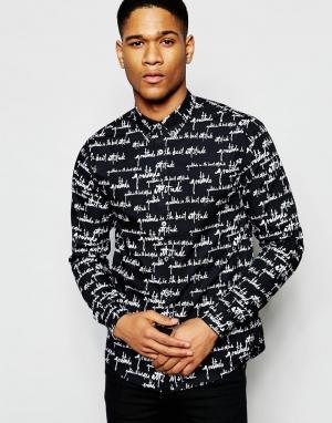 Izzue Рубашка классического кроя с контрастным воротником. Цвет: черный