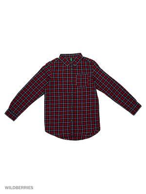 Рубашка United Colors of Benetton. Цвет: темно-красный, черный