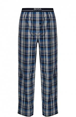 Хлопковые домашние брюки свободного кроя BOSS. Цвет: голубой