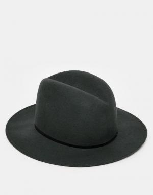 Catarzi Мягкая фетровая шляпа с широкими полями. Цвет: серый