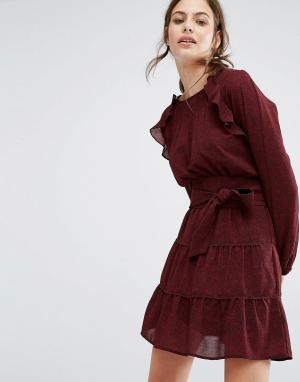 BA&SH Свободное платье с оборками и принтом. Цвет: красный