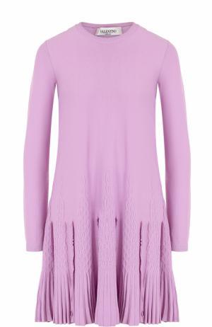 Вязаное мини-платье с длинным рукавом Valentino. Цвет: розовый