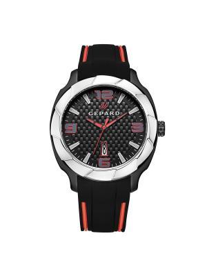 Часы GEPARD.. Цвет: черный,серебристый,красный
