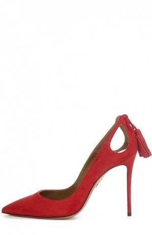Замшевые туфли Forever Marilyn с кисточками Aquazzura. Цвет: красный