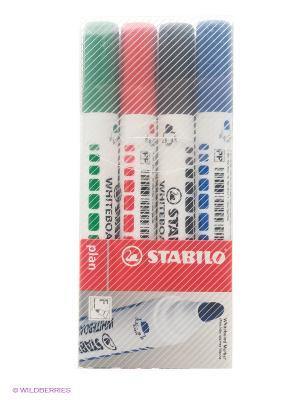 Набор маркеров для досок, 4 цв. Stabilo. Цвет: черный, синий, зеленый, красный