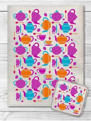 Набор кухонный Чашки Ложки Чайники GrandStyle. Цвет: голубой, сиреневый, оранжевый