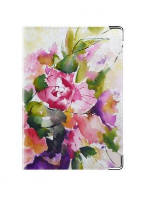 Обложка для паспорта цветы Tina Bolotina. Цвет: темно-фиолетовый, сиреневый, фиолетовый