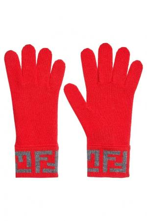 Шерстяные перчатки с логотипом Fendi. Цвет: красный