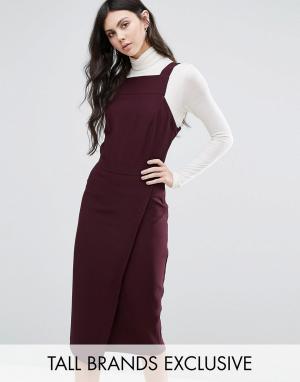 Alter Tall Платье с запахом и квадратной горловиной. Цвет: красный