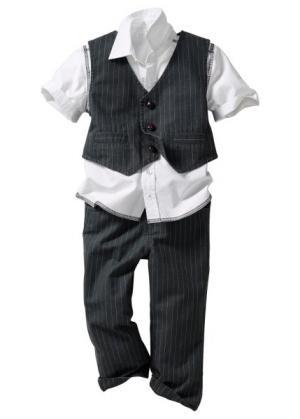 Рубашка + жилет брюки, (комплект из 3-х изделий) (светло-серый) bonprix. Цвет: светло-серый