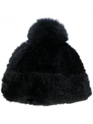 Вязаная шапка с помпоном Yves Salomon. Цвет: чёрный