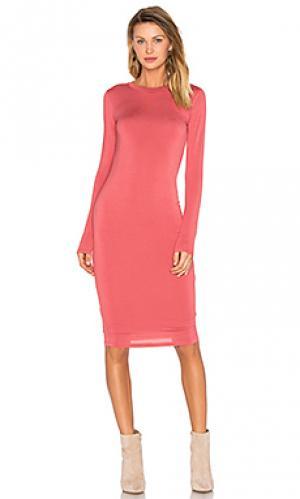 Миди платье с длинным рукавом BLQ BASIQ. Цвет: коралл