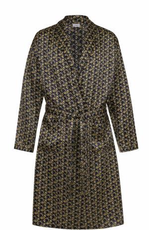 Шелковый халат с поясом Zimmerli. Цвет: черный
