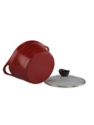 Кастрюля литая Bordo-C20IK  с индукционным дном со стеклянной крышкой 20 см Frybest. Цвет: бордовый, темно-серый