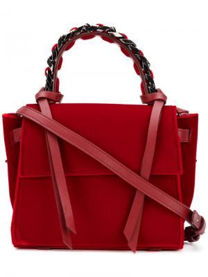 Мини-сумка-тоут с декоративной цепочкой Elena Ghisellini. Цвет: красный
