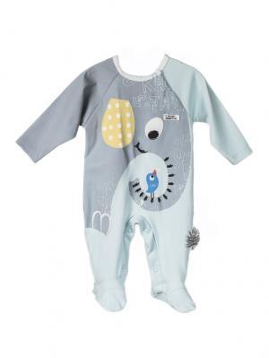Комбинезон для малышей WO&GO. Цвет: светло-голубой, серый меланж