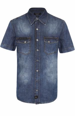 Джинсовая рубашка на кнопках с короткими рукавами Philipp Plein. Цвет: синий
