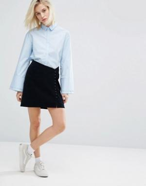 I Love Friday Асимметричная мини-юбка с пуговицами. Цвет: темно-синий
