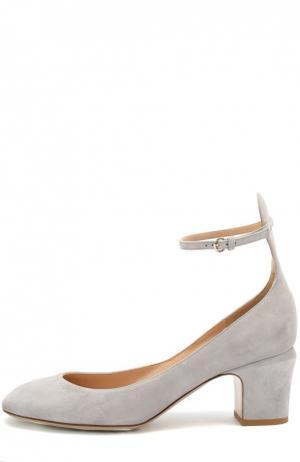 Замшевые туфли Tan-Go с ремешком на щиколотке Valentino. Цвет: светло-серый