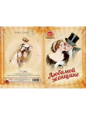Открытка с диском. Ретро. Любимой женщине (Музыкальный подарок. женщине) ИДДК. Цвет: персиковый, бледно-розовый, светло-бежевый