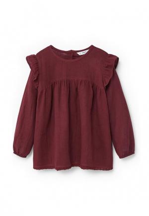 Блуза Mango Kids. Цвет: бордовый