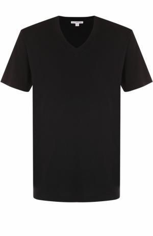Хлопковая футболка с V-образным вырезом James Perse. Цвет: черный