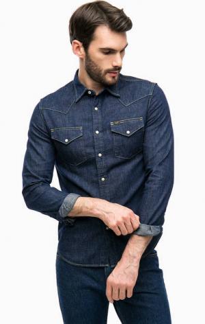 Синяя джинсовая рубашка с карманами Lee. Цвет: синий