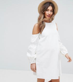 ASOS Maternity Белое джинсовое платье с открытыми плечами и пышными рукавами MAT. Цвет: белый